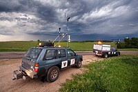 Two probe trucks parked near Pickstown, South Dakota, June 3, 2010