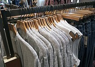 Tees hirts on a store rack