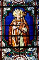 Alphonsus de Liguori (1696-1787), Saint Alphonse, Italian pope. Stained  glass window in the Church of Saint Hilaire de Licheres, Region Centre (Berry...