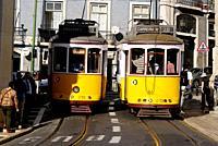 Crossing No. 28 streetcar Lisbon, Portugal