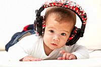 Little child with headphones