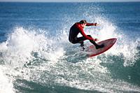 Surfing at Son Serra, Majorca, Spain