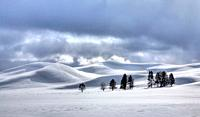 Winter storm clouds enter Hayden Valley at Yellowstone National Park, Wyoming