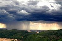 A fast moving thunderstorm approaches Zion National Park, Utah