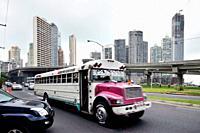 ´Diablo rojo´ customised bus, Cinta Costera, Panama City, Panama