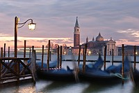 View of Lido island and gondolas at sunrise, Venice, Italy, Europe