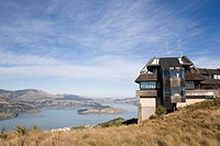 Christchurch Canterbury South Island New Zealand  Mount Cavendish Gondola cable car top summit terminal station building in Port Hills with view to Ly...