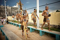 Mayan ball players walk in Chapab village in Yucatan state in Mexico´s Yucatan peninsula, Mexico, June 13, 2009