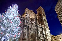 Italy, Tuscany, Florence, Cathedral, Christmas lights