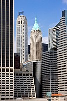 Woolworth building and 20 Exchange Place landmark buildings in Lower Manhattan, New York City