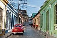 Old car on the streets of Santiago de Cuba, Cuba, Caribbean