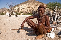 Old Himba man in a village near Epupa Falls, Namibia, Africa