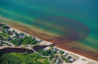 Aerial view of the discharge of Lincoln River into Lake Michigan, USA
