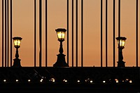 Chain Bridge in Budapest for three lights at dusk