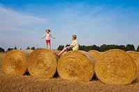 Children Playing on Corn Bales, Estonia