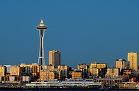 Seattle skyline at dusk, Washington, USA