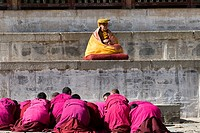 A Tibetan Buddhist ceremony conducted by a high Lama at Labrang monastery.
