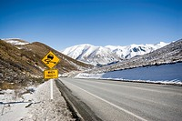 Slippery when Frosty yellow warning sign at Porters Pass