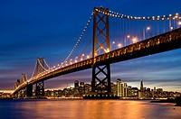 San Francisco Bay Bridge at night, California, USA