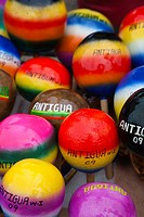 Multicoloured maracas for sale from a street vendor in St Johns, Antigua, Caribbean, West Indies