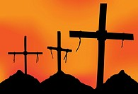 Three Crosses in silhouette in front of a gray sky