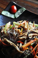 Yangshou (China): Lo Han Zhai Guilin style (or 'Buddha's delight', 'vegetarian plate for monks', a mix of noodles and veggies) at Pure Lotus restauran...