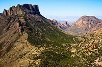 View from Casa Grande, in the Chisos Mountains on the Lost Mine Trail in Big Bend National Park, Texas, United States