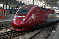 Amsterdam, Netherlands. High speed Thalys train leaving Amsterdam for a journey to Paris, France.