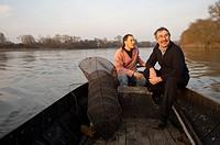Alex Faget, professional fisher, and Gérard Bossé, chef of restaurant Les Tonnelles, Rochefort-sur-Loire, Maine-et-Loire, Pays de la Loire, France