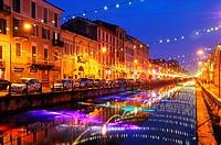 Italy, Milan, Navigli, christmas lights