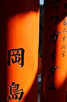 Kyoto (Japan): columns of Torii (traditional Japanese gate most commonly found at the entrance of or within a Shinto shrine, where it symbolically mar...