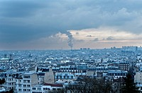 Rooftop view of Paris with pollution, France