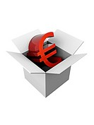 Grey open box Euro currency