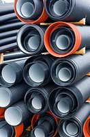 Corrugated drainage pipes ready for a construction project in Norway