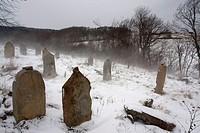Baligrod town in the Bieszczady mountains. Southeastern Poland. The Jew cemetery