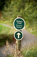 Bilingual welsh english nature trail sign Bluestone National Park resort holiday vacation centre, pembrokeshire west wales uk