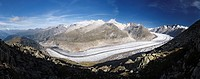 Switzerland, Valais, Western Europe, Aletsch Glacier UNESCO world heritage site nr  Bettmerhorn  Note: This is a digitally stitched panoramic image