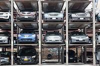 Vertical parking spaces in Manhattan, New York City, New York, USA