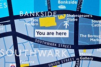 Detail of map, London, England, UK
