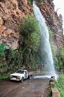 waterfall at the old coastal road, also called the car washing street, Madeira, Portugal, Europe