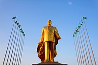 Golden statue of Niyazov in the Park of Independence, Berzengi, Ashgabat, Turkmenistan