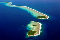 Aerial view of Micronesian atoll near Chuuk, Federated States of Micronesia, North Pacific.