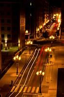 Car lights on the street at night, Oviedo