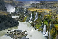 Hrauneyjafoss Waterfalls, Landmannalaugar, Fjallabak Nature Reserve, Iceland