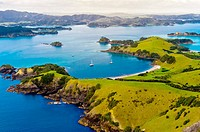 Aerial view of Waikare Inlet, the Bay of Islands in the Northland region of the north island of New Zealand