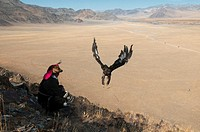 A Kazakh eagle hunter lets his golden eagle fly in the Altai Region of Bayan-Ölgii in Western Mongolia