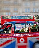 London Taxi cab with the Union Jack Design covered in Street Names, UK