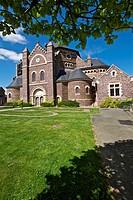 parish church of St maxent 1896. XIX century, Author Arthur Regnault. typology rounded apse, Romano Byzantine broceliande, Brittany, France