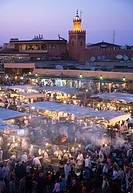 Jemaa El Fna Square in Marrakech with food stalls and fruit sellers at nightime  Morocco