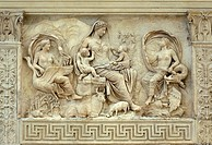 Ara Pacis Augustae Panel depicting Tellus, Mother Earth, or according to a different interpretation, Venus, Aeneas´ divine mother  Rome, Italy